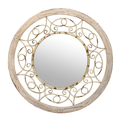 Distressed Ivory Gilda Mirror, 38 in.