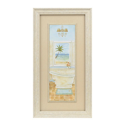 Coastal Cottage Bath I Framed Art Print
