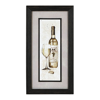 White Wine Bottle Sketch Framed Art Print