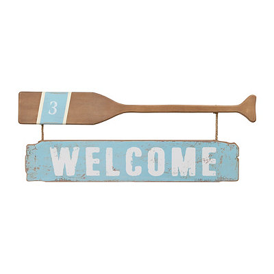 Welcome Oar Wooden Plaque