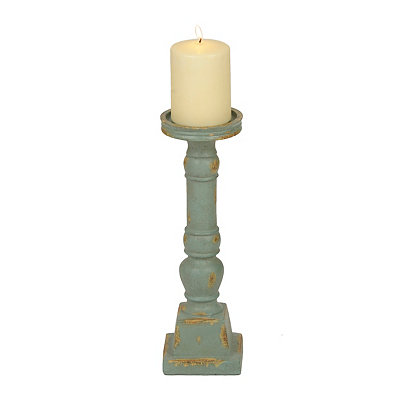 Distressed Turquoise Turned Candlestick, 12 in.