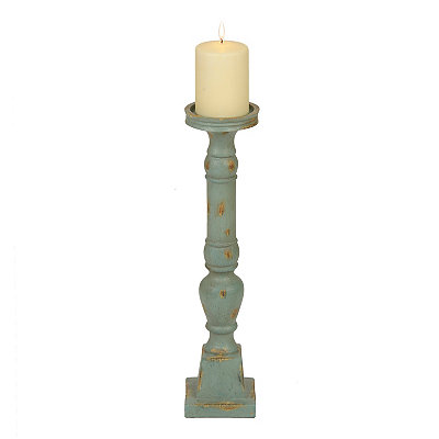 Distressed Turquoise Turned Candlestick, 16 in.