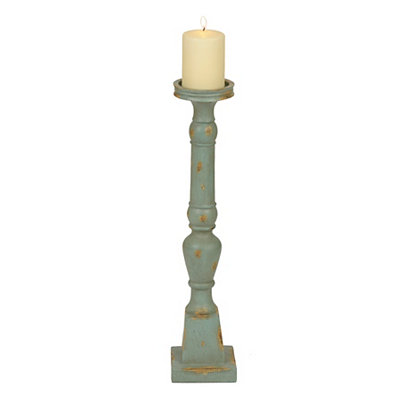 Distressed Turquoise Turned Candlestick, 20 in.