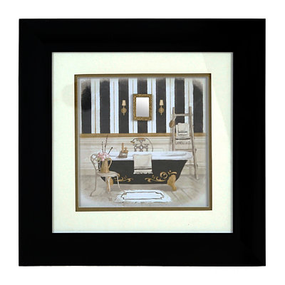 Black & Gold Regal Bath I Shadowbox