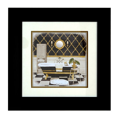 Black & Gold Regal Bath II Shadowbox