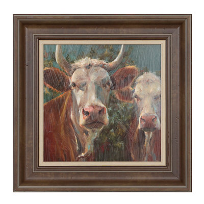 Brown Cow Friends Framed Art Print