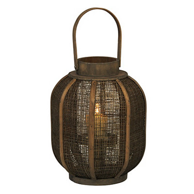 Barrel Wood and Burlap Lantern