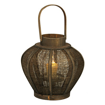 Gourd Wood and Burlap Lantern