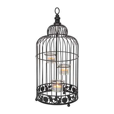 Black Metal Birdcage Tealight Holder