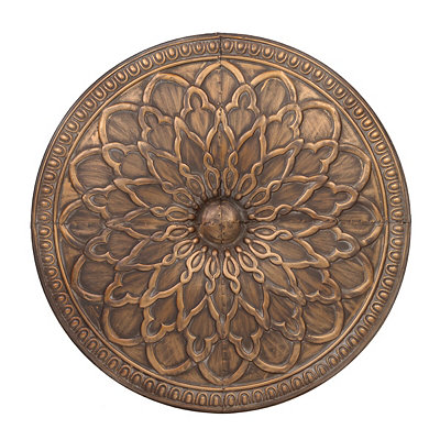 Antique Gold Floral Medallion Metal Tile