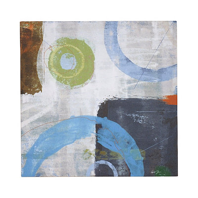 Abstract Blue Circles II Canvas Art Print