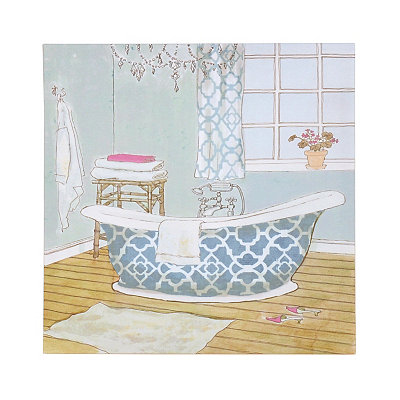 Aqua Bathtub I Canvas Art Print