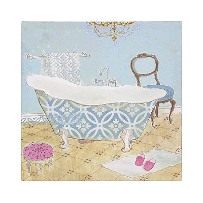 Aqua Bathtub II Canvas Art Print