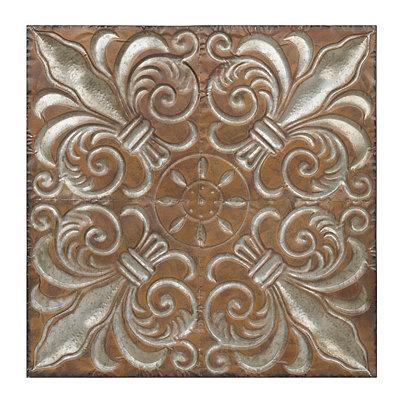 Rusted Silver Fleur-de-Lis Metal Plaque