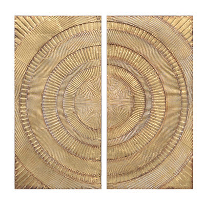 Serengeti Gold Metal Art Panels, Set of 2