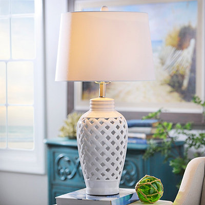 White Lattice Ceramic Table Lamp