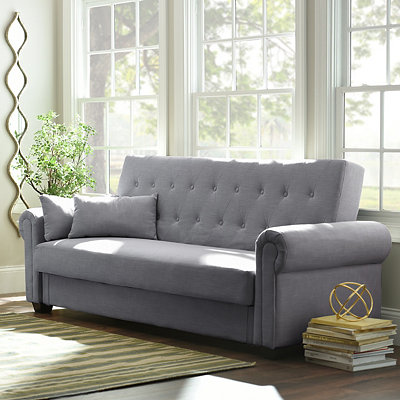 Andrea Gray Tufted Convertible Storage Sofa