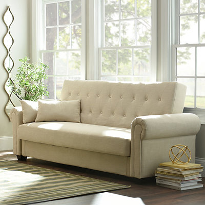 Andrea Ivory Tufted Convertible Storage Sofa