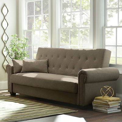 Andrea Taupe Tufted Convertible Storage Sofa