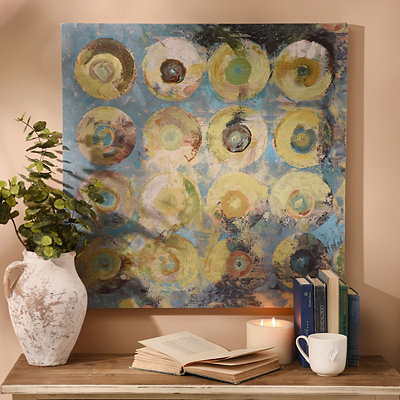 Blue Abstract Circles Canvas Art Print