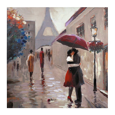 Red Umbrella Couple in Paris Canvas Art Print