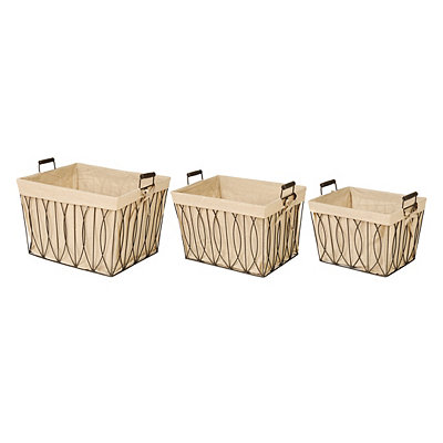 Geometric Metal Burlap-Lined Baskets, Set of 3