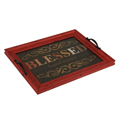 distressed blessed decorative tray - Decorative Tray