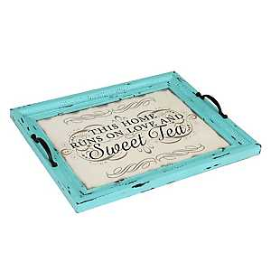 Distressed Turquoise Sweet Tea Decorative Tray