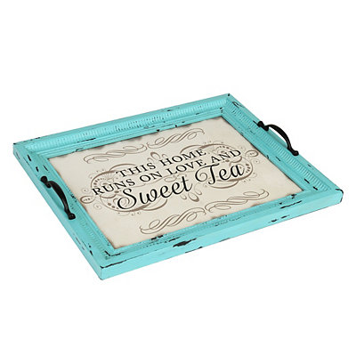 Distressed Turquoise Sweet Tea Decorative Tray