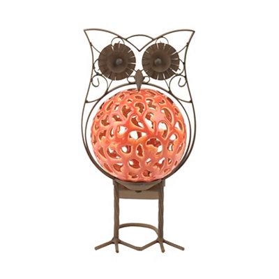 Coral Owl Solar Statue