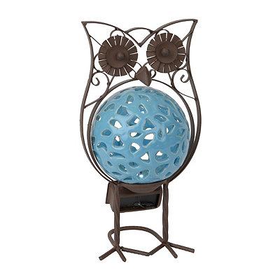 Aqua Owl Solar Statue