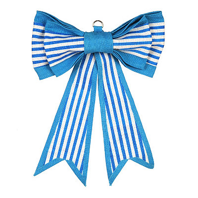 Blue Striped Door Bow