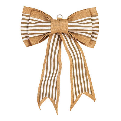 Tan Striped Door Bow