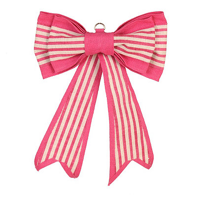 Pink Striped Door Bow
