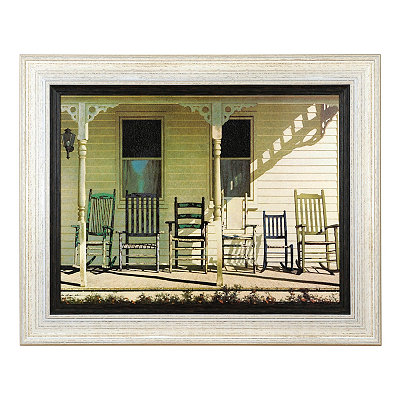 Farmhouse Family Rocking Chairs Framed Art Print