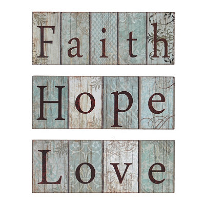 Faith, Hope, Love Slatted Wood Plank Plaques