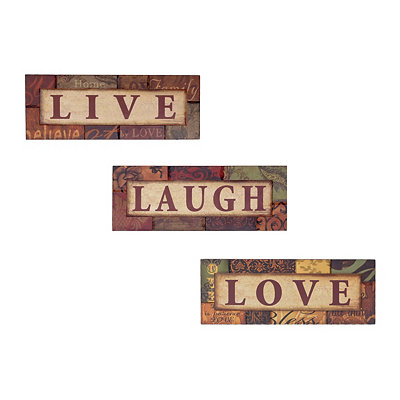 Live, Laugh, Love Patchwork Wooden Plaques