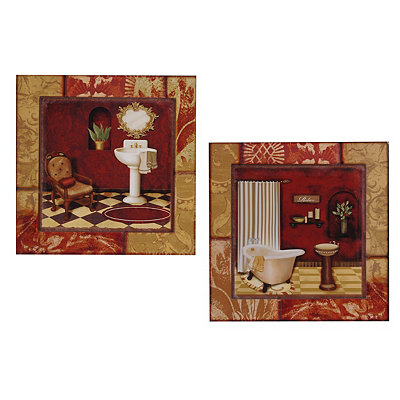 Red and Gold Bathroom Wooden Plaques