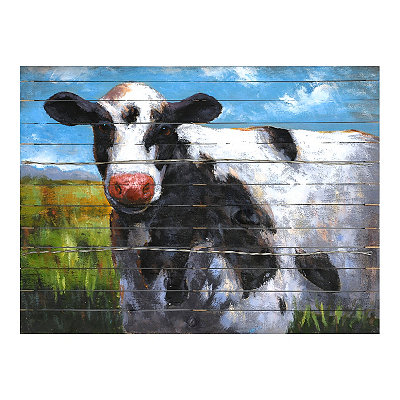Farmyard Cow Wooden Plaque