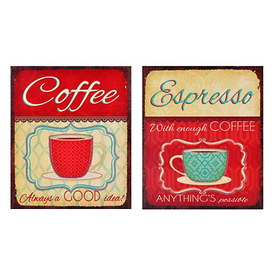 Red Coffee Mug Wooden Plaques