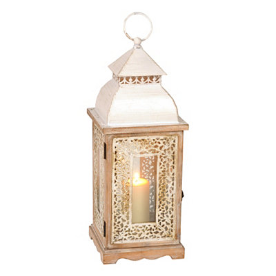 Distressed White Window Lantern