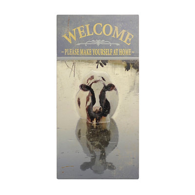 Welcome Cow Wooden Plaque