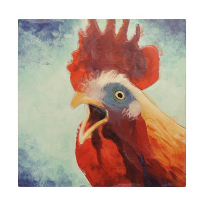 Rooster Calling Wooden Plaque