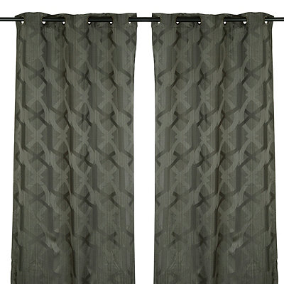 Charcoal Picasso Curtain Panel Set, 84 in.