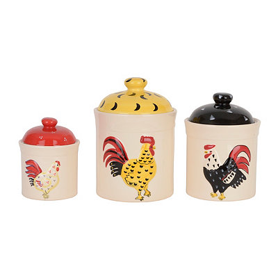 French Rooster Canisters, Set of 3