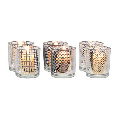 Geometric Silver Glass Votive Holders, Set of 6