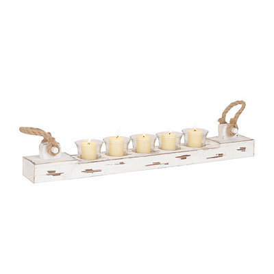 Distressed White Wood Votive Runner