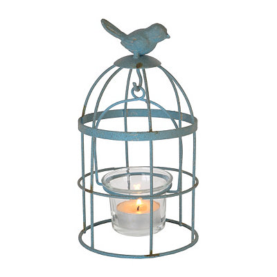 Mini Blue Birdcage Candle Holder