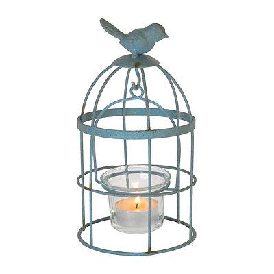 Mini Blue Birdcage Candle Holder