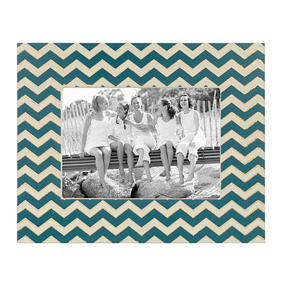 Ivory and Navy Chevron Picture Frame, 5x7